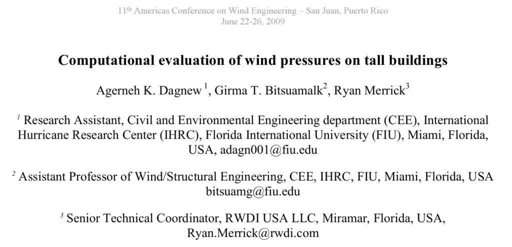 Computational evaluation of wind pressures on tall buildings